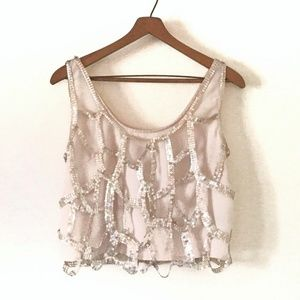 {Lush} Soft Gold Sequined Cage Crop Top